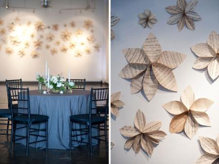 Popierinės gėlės ant sienų