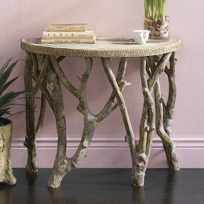 metalinės staliuko kojos, imituojančios medžio šakas