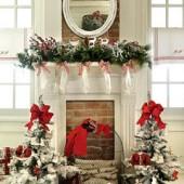 Kalėdinės dekoracijos, pušelių šakos, žalia, raudona