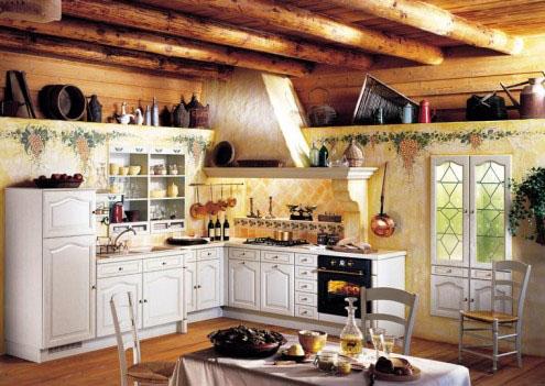 mediniai balkiai, sienos, grindys virtuvėje