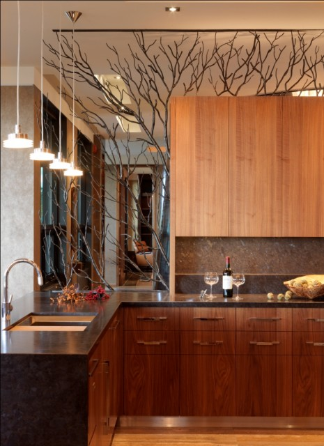 akmens stalviršis, medzio sakos veidrodyje virtuveje