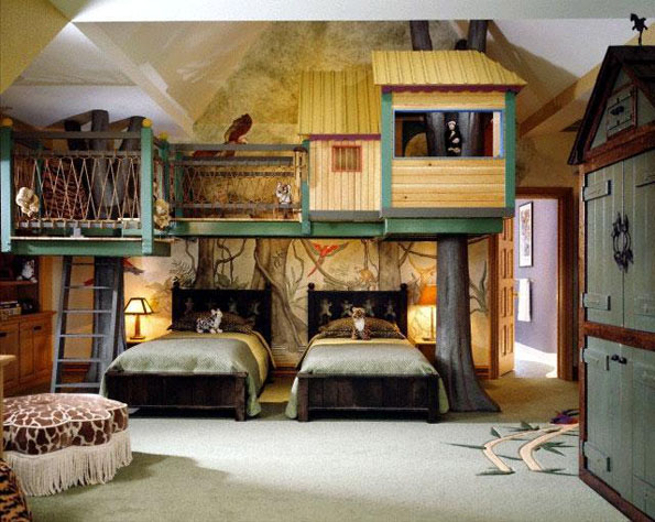 Childrens-room-with-false-tree-house-picture