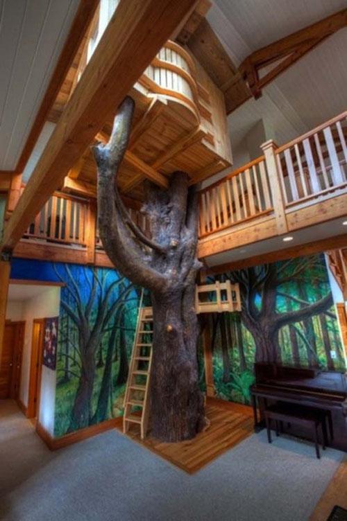 kids-bedroom-indoor-tree-house-design
