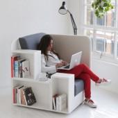 fotelis, lentyna knygoms, staliukas