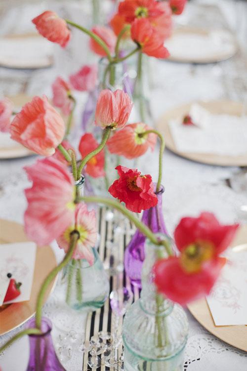 stiklinėse vazose raudonos gėlės