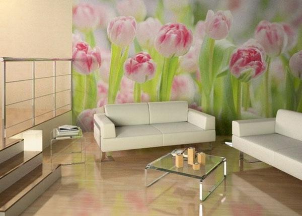 tulpės ant sienos svetainėje, fototapetas