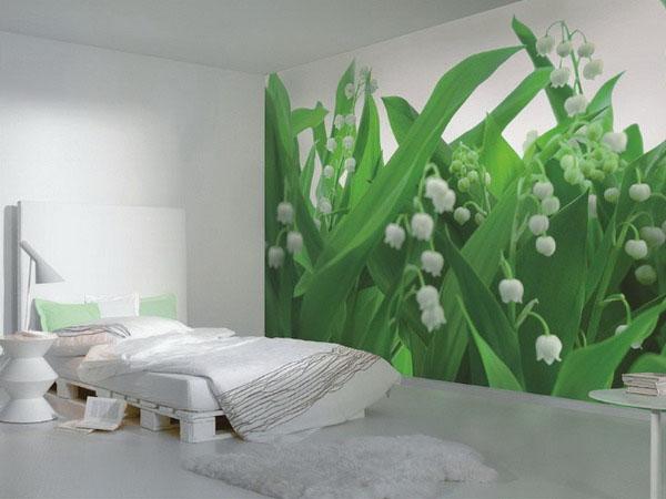 balti varpeliai ant sienos miegamąjame, fototapetas