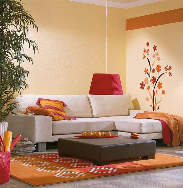 oranžinė spalva, lipdukas ant sienos, svetainė