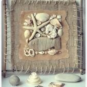 medžio šakelių rėmelis paveiksliukas iš kriauklių