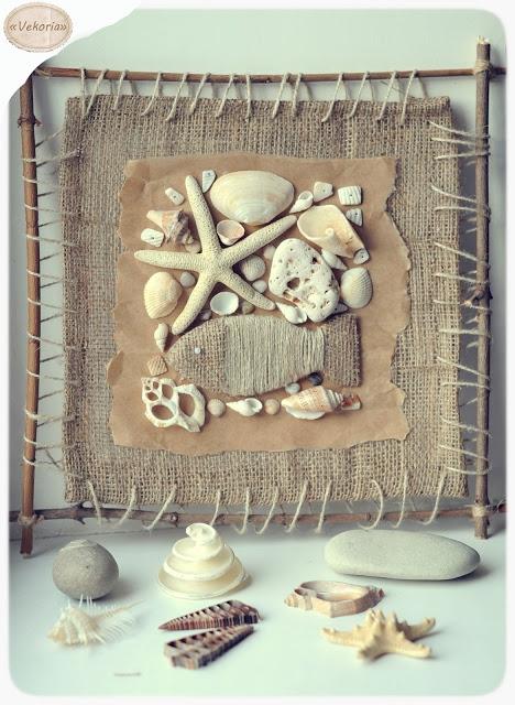medžio šakelių rėmelis, paveiksliukas iš kriauklių