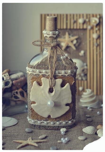 dekoratyvinis butelis, maišinė medžiaga