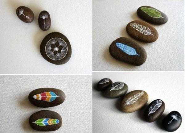 paprasti piešiniai ant akmenėlių