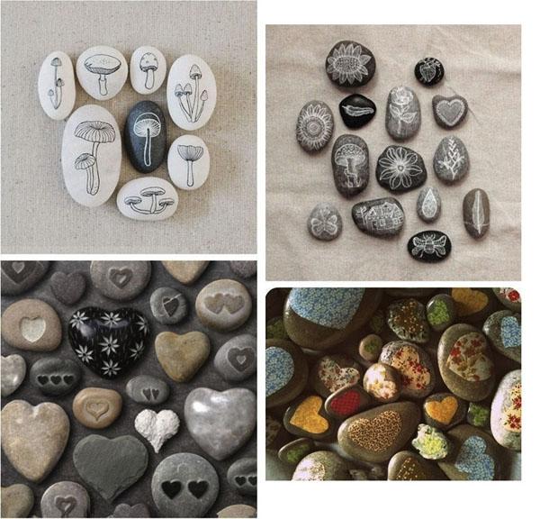 grybukai, širdelės, spalvoti piešiniai ant akmenėlių