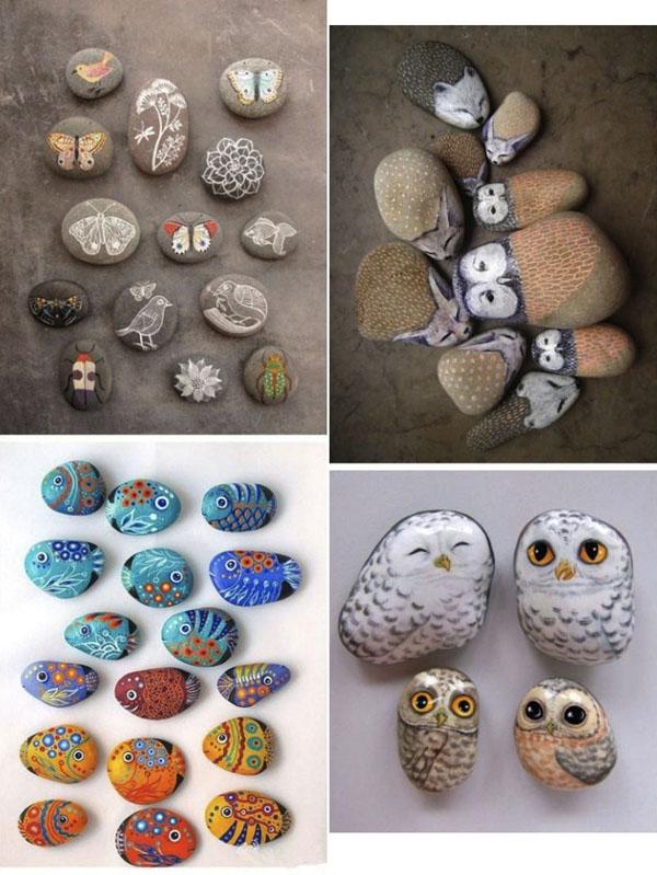 pelėdų, žuvyčių piešiniai ant akmenėlių