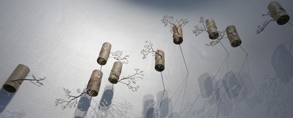 sienos dekoracija šakelės iš kartono ritinėlių