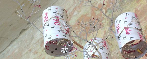 sienos dekoracija šakelės iš kartono ritinėlių, rausva spalva