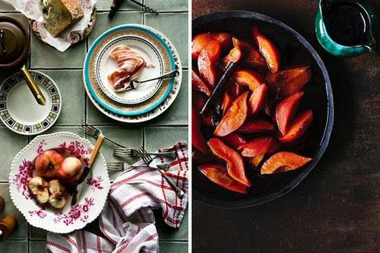 spalvotai dekoruotos baltos lėkštės, maistas inspiracija interjerui
