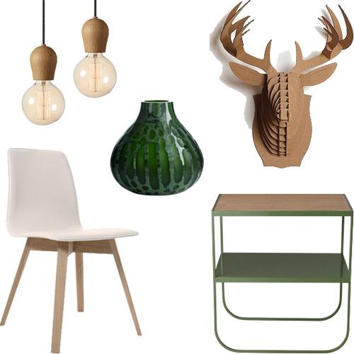 medinės, detalės, žalia vaza nuotaikos koncepcija interjerui