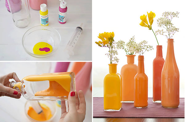 dažyti buteliai, vazelės, kaip pasidaryti