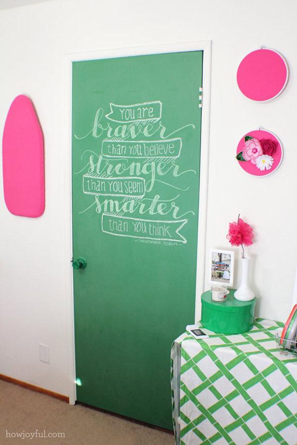 durys lenta rašyti su kreida kambaryje