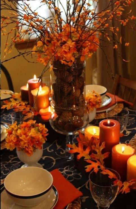 rudeninė puokste ant stalo