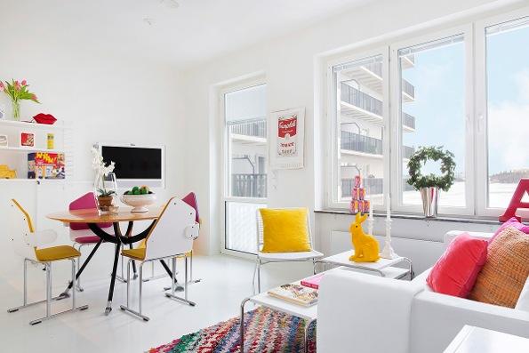 Spalvotos svajonės sniego baltumo bute Stokholme