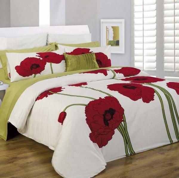 raudonos aguonos, zali koteliai, balta spalva, patalyne, miegamasis