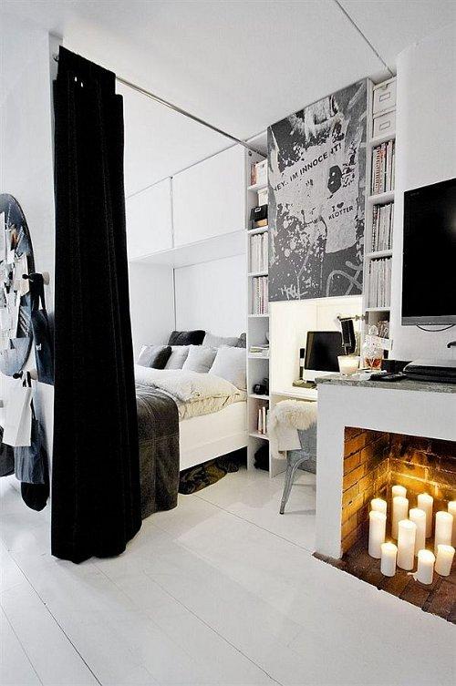 zidinys zvakes juoda balta miegamasis