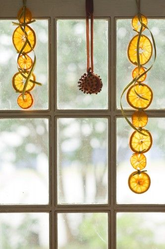 apelsinu skilteles girlianda langas