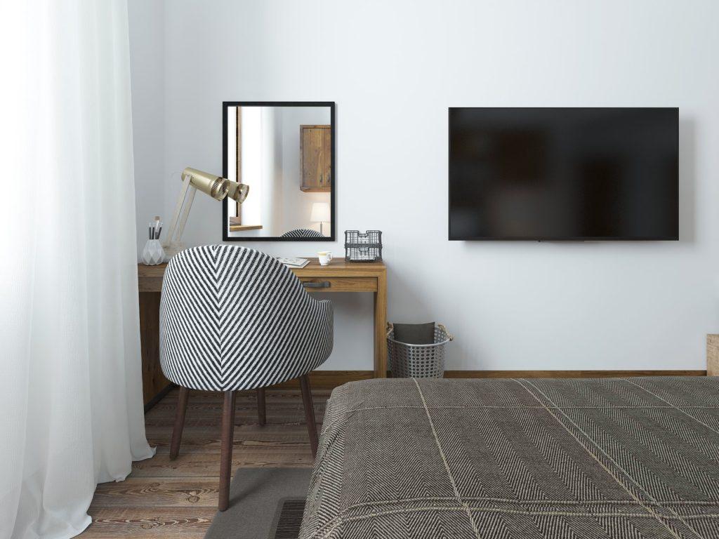 televizorius miegamajame